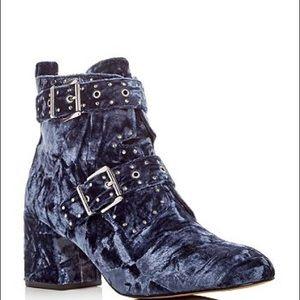 Rebecca Minkoff Logan Velvet Studded Blue Boots